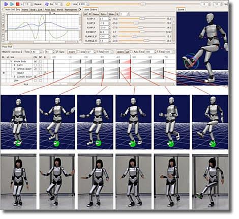Интерфейс программы Chorenoid и танец девушки-робота