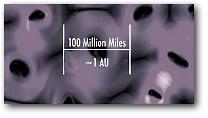 Схематическое изображение магнитной пены на границе Солнечной системы
